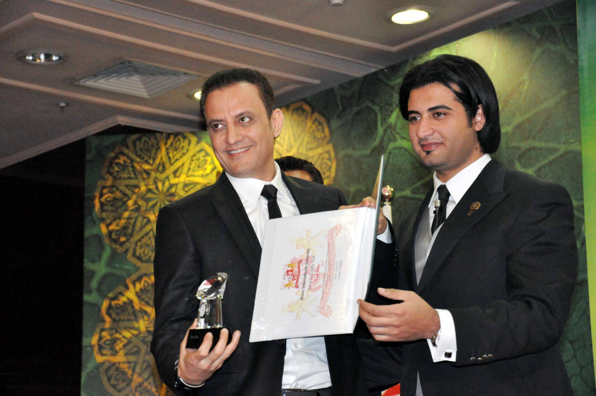 تكريم الاعلامى طارق علام لحصولة على الدكتوراة الفخرية فى (التنمية البشرية )